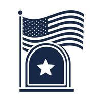 Gedenktag Grabstein und Flagge amerikanische Feier Silhouette Stilikone vektor