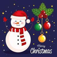 Weihnachtsschneemann mit Blatt- und Kugeldekorationsfahne des neuen Jahres und der frohen Weihnachtsfeier vektor