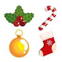 Weihnachten Zuckerstange und Ikonen dekorativ vektor