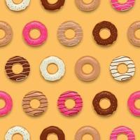 Satz bunte leckere Donuts nahtlose Musterhintergrundvektorillustration vektor