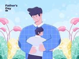 fäder dag platt illustration med far kramar snart. far som älskar sitt barn lycklig faders dag lämplig för gratulationskortinbjudan poscard etc. vektor