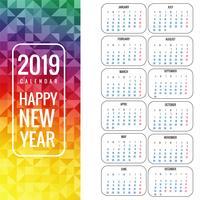 Kalender för 2019 bakgrundsvektor