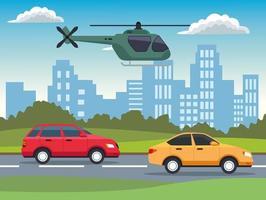 gelbe und rote Autos, Fahrzeuge und Hubschrauberszene vektor