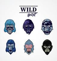 Wildgeist Schriftzug mit Gorillaköpfen gesetzt vektor