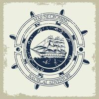 Retro-Segelschiff nautisch grau Vintage Emblem Ikone vektor