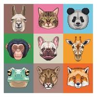 Bündel von neun Tieren Hausangestellten und wilden Ikonen vektor