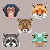 Bündel von fünf Tierköpfen Zeichen Ikonen vektor