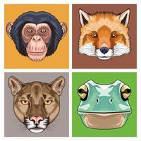 Bündel von vier Tierköpfen Zeichen Ikonen vektor