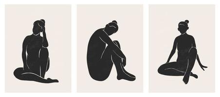 trendige zeitgenössische Reihe von abstrakten geometrischen minimalistischen Figuren vektor