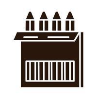 Schulbildung Bleistifte Farbe in Box liefern Silhouette Stilikone vektor