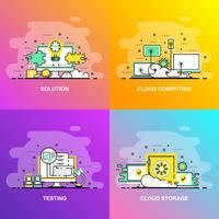 Modern jämn gradient platt linje koncept webb banner av testning, lösning, Cloud Computing och Cloud Storage