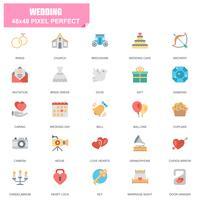 Enkel uppsättning bröllopsrelaterade vektor platta ikoner