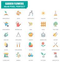 Enkel uppsättning av trädgårdsblommor Relaterade vektor platta ikoner