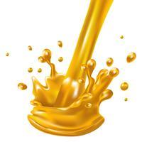 Orangensaftflüssigkeit des Spritzens und des Whirls für die Designgebrauches lokalisiert auf weißem Hintergrund