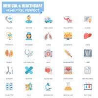 Enkel uppsättning av medicinska och sjukvårdsrelaterade vektor platta ikoner
