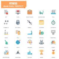 Enkel uppsättning av fitness relaterade vektor platt ikoner