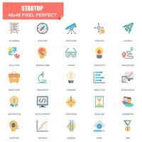 Enkel uppsättning av start-relaterade vektor platta ikoner