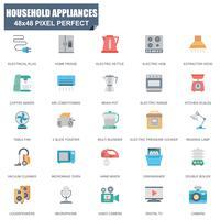 Enkel uppsättning av hushållsapparater relaterade vektor platta ikoner