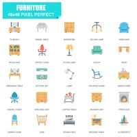 Einfacher Satz Möbel bezogene Vektor-flache Ikonen