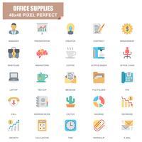 Enkel uppsättning kontorsmaterial relaterade vektor platta ikoner