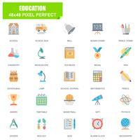 Enkel uppsättning av utbildningsrelaterade vektor platta ikoner