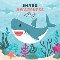 Kampagne zum Tag des Hai-Bewusstseins vektor