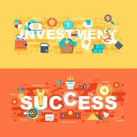 Investering och framgångssätt av platt koncept vektor