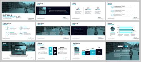 Business-Präsentation PowerPoint schiebt Vorlagen aus Infografik-Elementen.