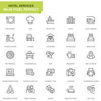 Enkla Ange Hotell Service Linje Ikoner för Webbsida och Mobila Appar
