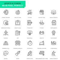 Enkla inställda sport- och fitnesslinjeikoner för webbplats- och mobilapps
