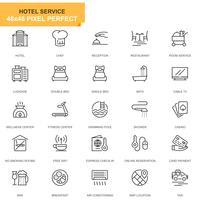 Enkel Set Hotell Tjänster Linje Ikoner För Webbplats och Mobila Appar