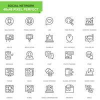 Enkel uppsättning sociala medier och nätverkslinjeikoner för webb- och mobilapps vektor