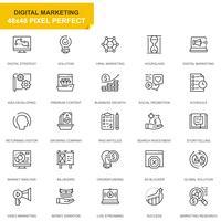 Enkel uppsättning affärs- och marknadsföringslinjer för webb- och mobilapps vektor