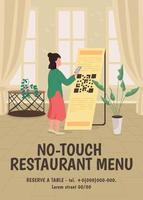no-touch restaurang meny affisch platt vektor mall