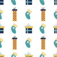 nahtloses Muster des Neujahrsweihnachtsvektors. Geschenke, Socken. Urlaubsdruck, Verpackung vektor