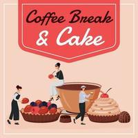 Kaffeepause und Kuchen Social Media Post Mockup vektor
