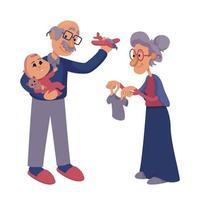 Großeltern spielen mit Säuglingsflachkarikaturillustration vektor
