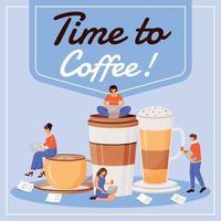 Zeit zum Kaffee Social Media Post Mockup vektor