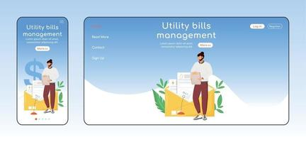 Utility Bills Management adaptive Landing Page flache Farbe Vektor Vorlage Set