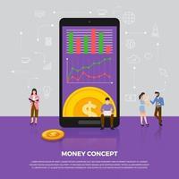 flaches Designkonzept Geldgeschäft. Gruppe Menschen Entwicklung Ikone Münzgeld. Vektor veranschaulichen