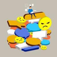 negativer Kommentar des flachen Designkonzepts in den sozialen Medien. Der Mann kann Online-Krise bewältigen. Vektor veranschaulichen.