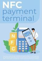 NFC Zahlungsterminal Poster flache Vektorschablone vektor