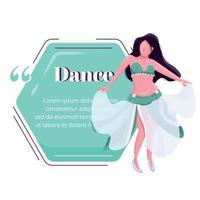 Bauchtanz weibliche Darsteller flache Farbe Vektor Zeichen Zitat