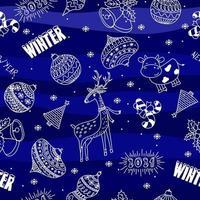 nahtloses Gekritzelhand gezeichnetes Weihnachtsballhirschkuh- und Schneeflockenmuster auf blauem Hintergrund vektor