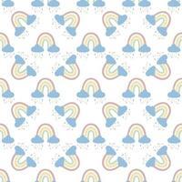 .abstrakter Regenbogen mit Wolken und Regentropfen, Kritzeleien und Kreisen in einem nahtlosen Muster. Kindermuster in gedeckten Pastellfarben. handgezeichnete Vektorillustration. Design für Textilien, Verpackungen vektor