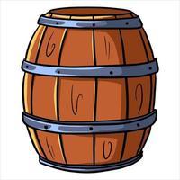 Fass für Wein oder Bier Holzfass Lagerung von Alkohol Cartoon-Stil vektor