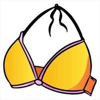 Sommer Badebekleidung Badebekleidung Top gelbe Cartoon-Stil vektor