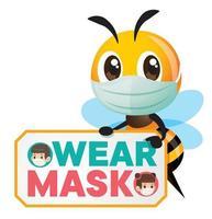 Karikatur niedliche Biene, die Gesichtsmaske zeigt, um Maskenschild zu tragen vektor