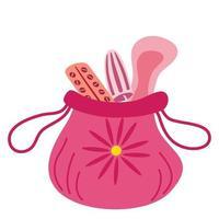 Kosmetiktasche mit Menstruationshygieneprodukten Illustration für Frauenhygienemedizinperioden Frauentasche mit Damenbinden Tampontabletten Tabletten gynäkologischer Menstruationszyklusvektor vektor