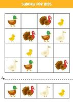 Sudoku-Spiel für Kinder mit niedlichen Bauernhofvögeln vektor
